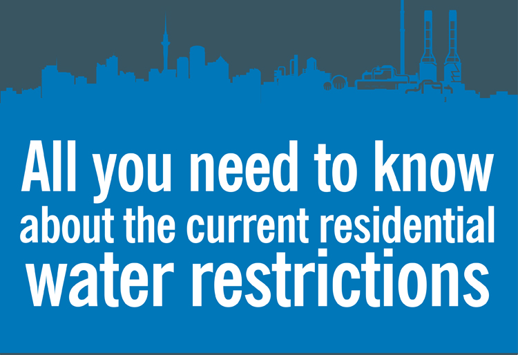 Residential water restrictions currently in place for Auckland