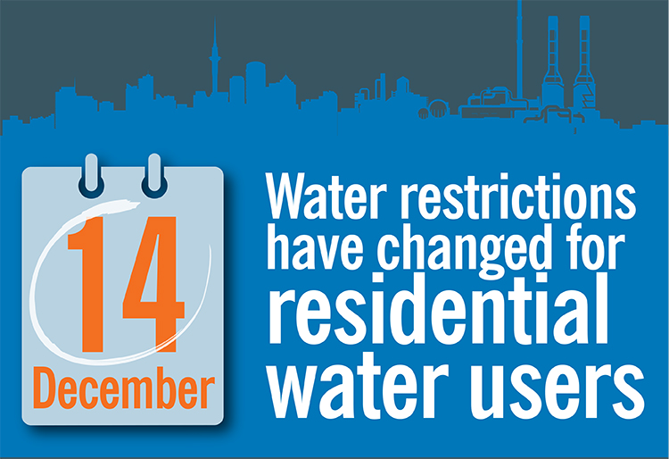 residential water restrictions will change on 14 December