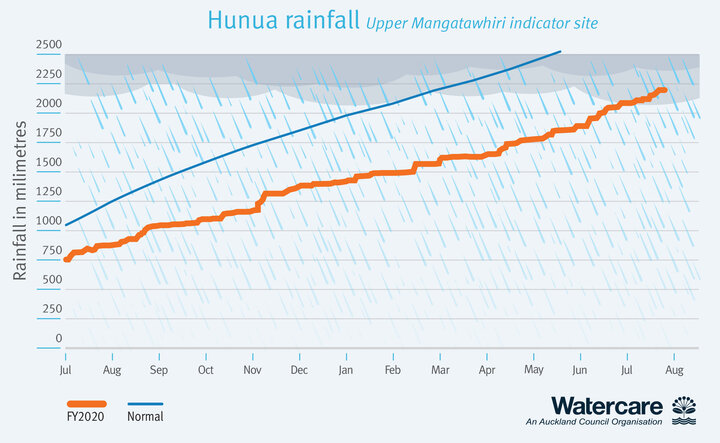 Graph showing rainfall in the Hunua Ranges from November 2019 to date