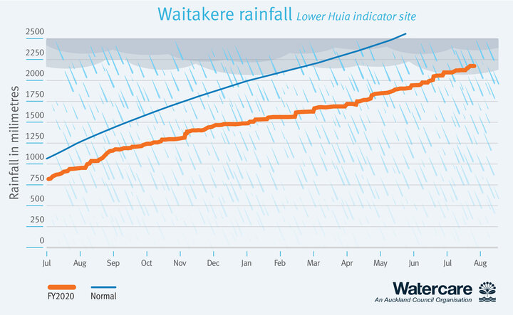 Graph showing rainfall in the Waitakere Ranges from November 2019 to date