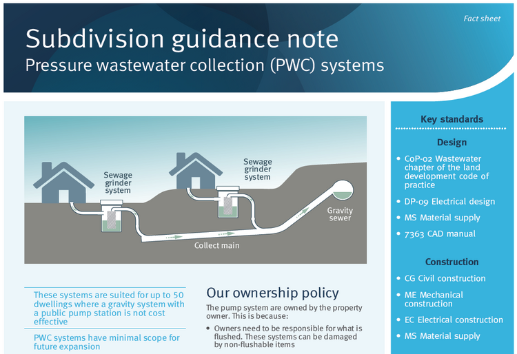 Subdivision guidance note pressure wastewater collection