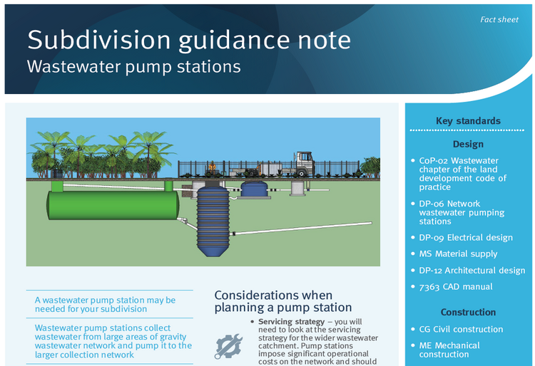 Subdivision guidance note wastewater pump stations