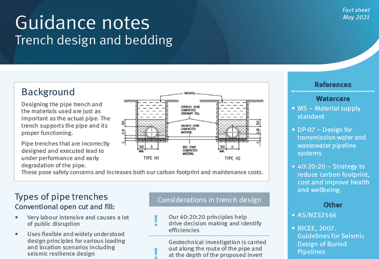 Trench design and bedding guidance note