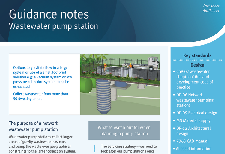 wastewater pump station guidance note