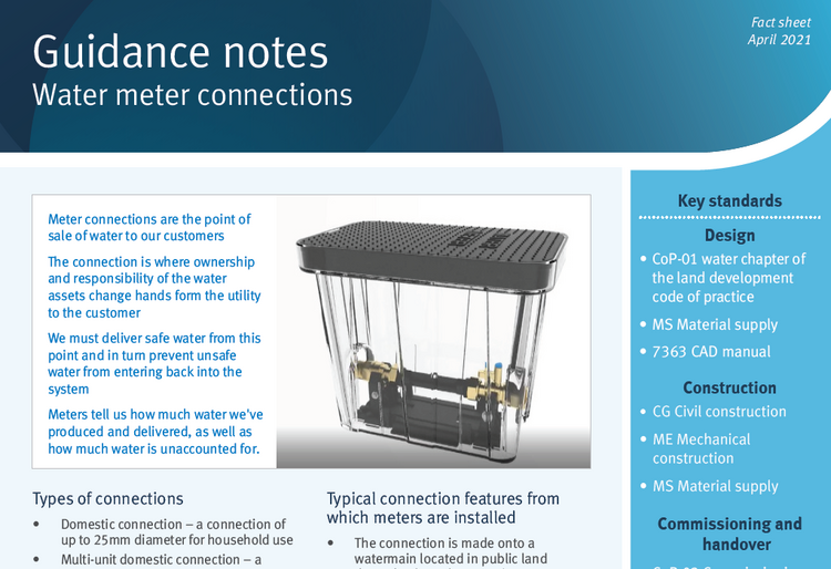 water meter connections guidance note