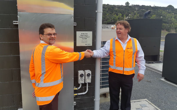 Engineers celebrate with tea and muffins as Army Bay Wastewater Treatment Plant refurbishment is completed