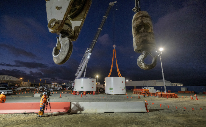 Pieces of the Central Interceptor Tunnel Boring Machine at our Māngere site