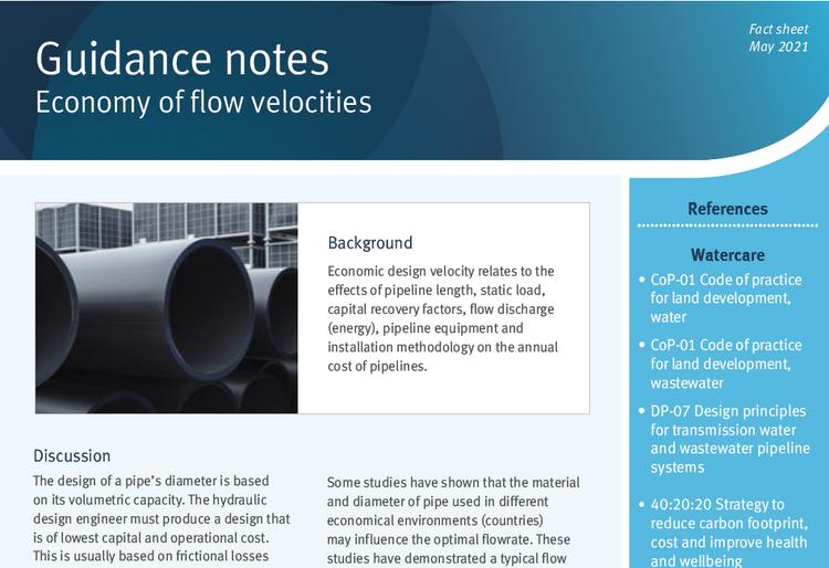 Economy of flow velocity guidance notes
