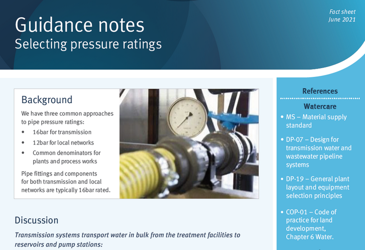 Guidance note selecting pressure ratings