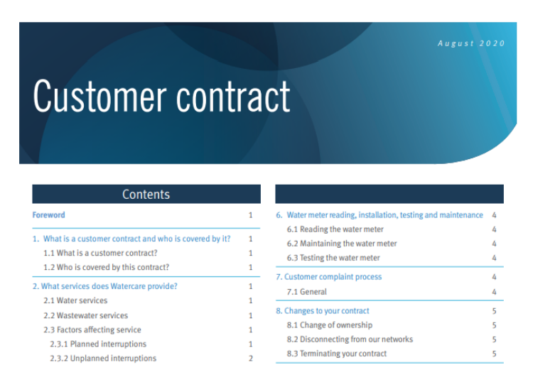 Customer contract changing