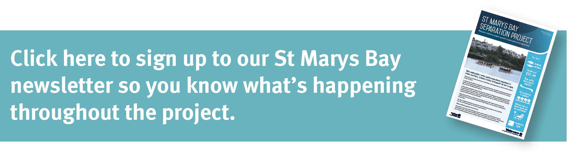 sign up for the St Marys Bay separation project newsletter