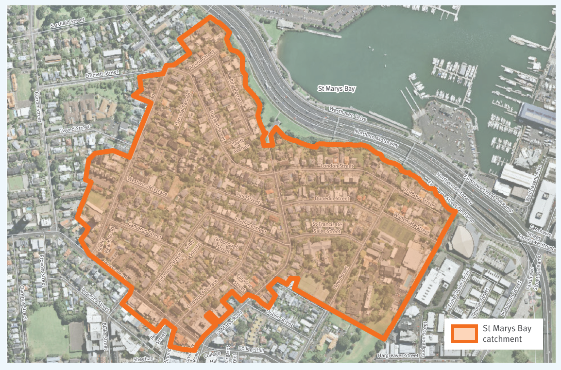 St marys bay separation project catchment map